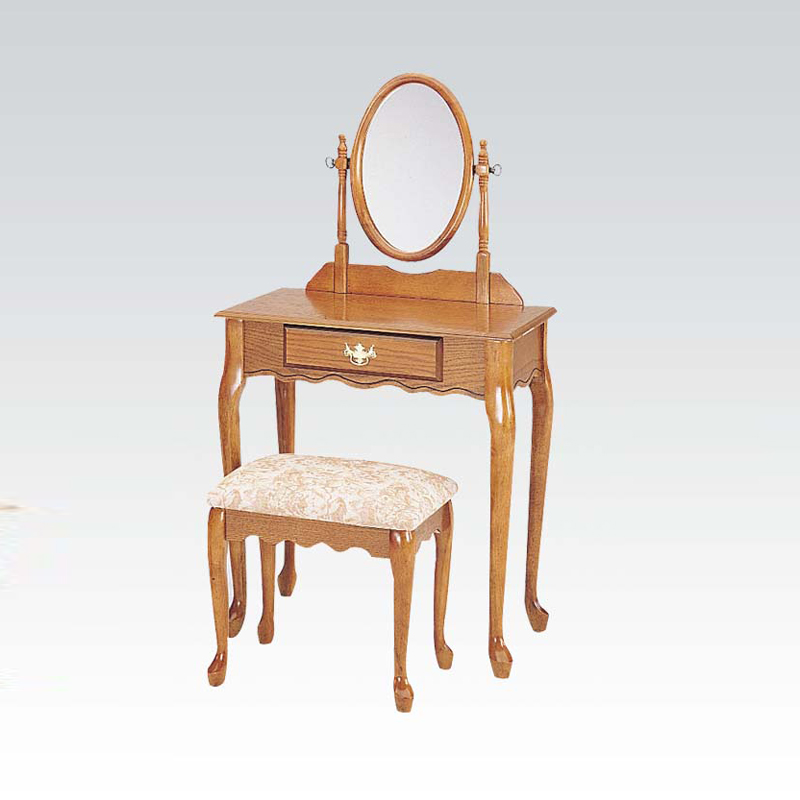 3 Pieces Queen Anne Oak Wood Make Up Dressing Table Vanity Set W Mirror Benc