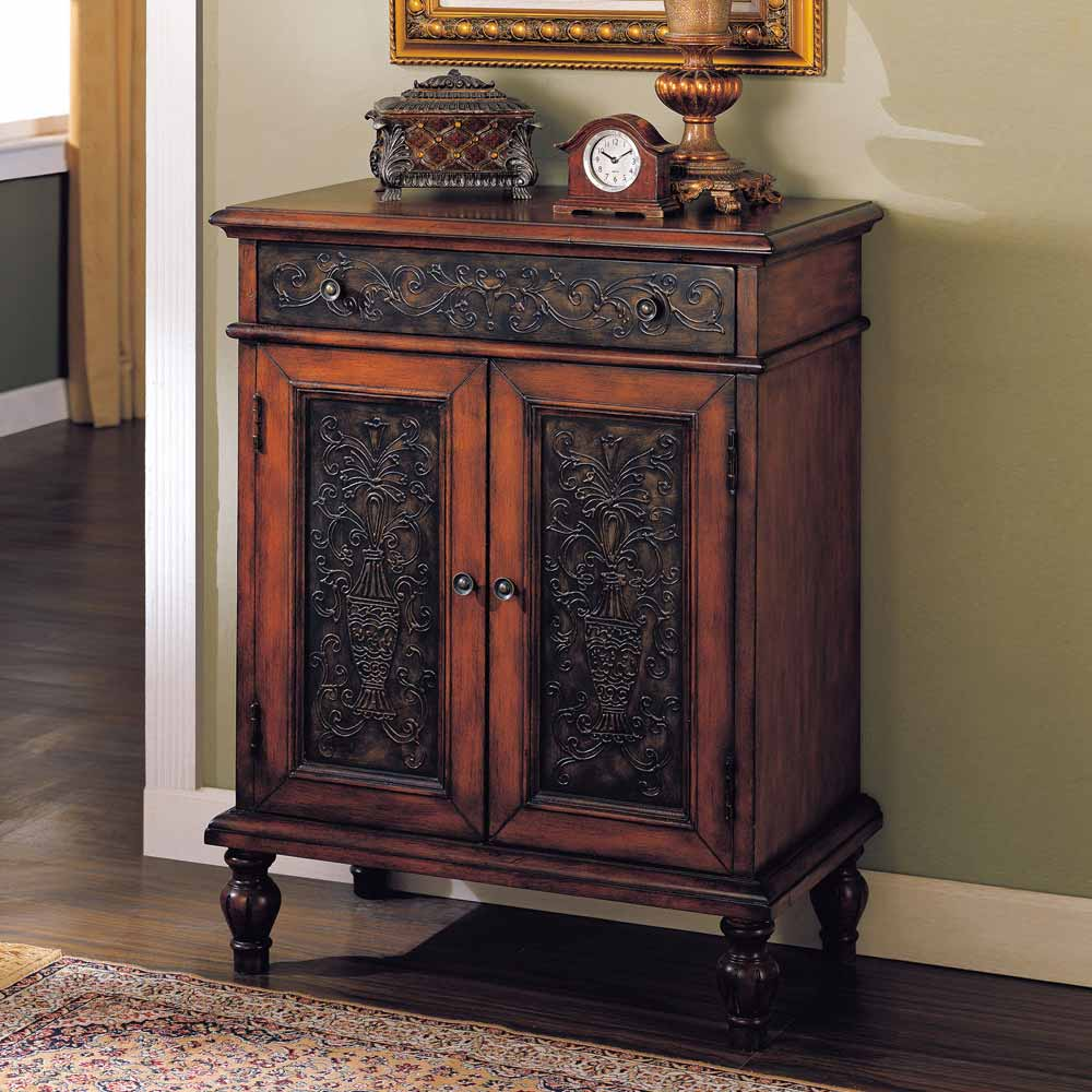 Alameda traditional console table carved molding drawers for Sofa table with drawers and doors