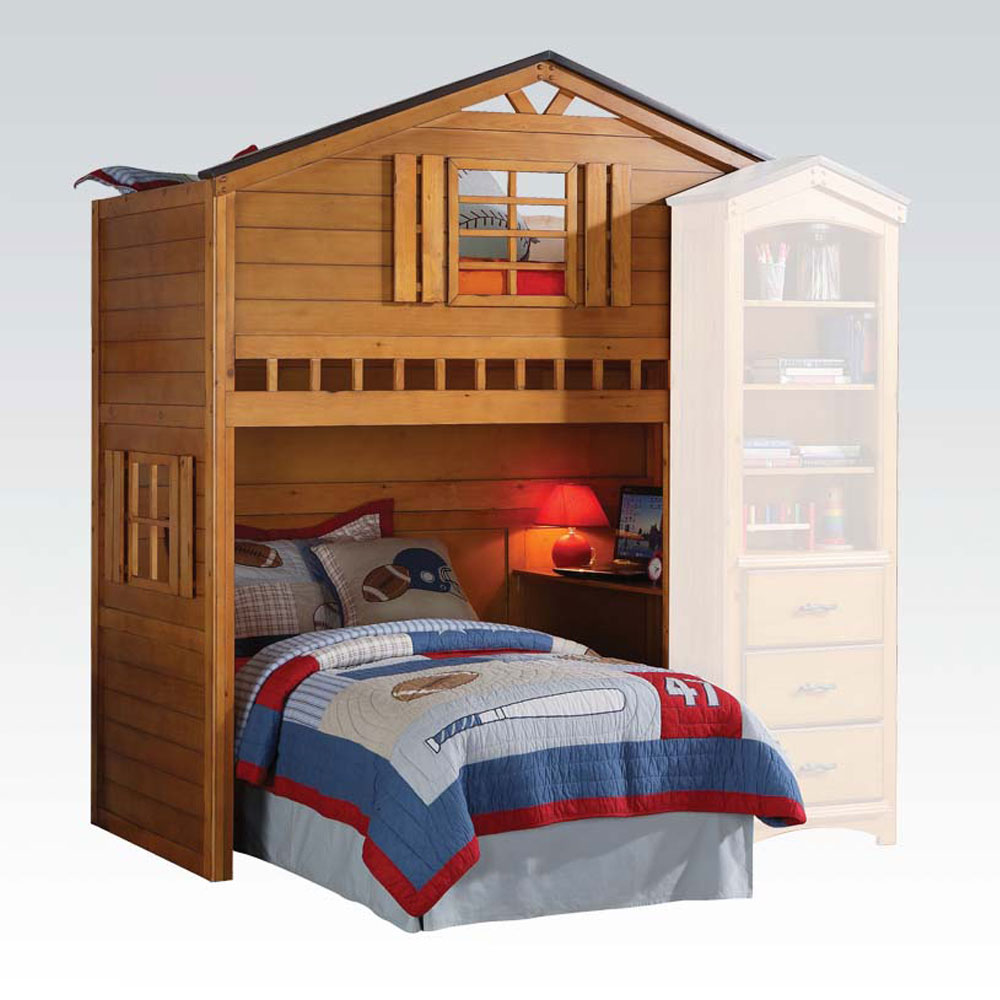 kids children fun tree house twin loft bunk bed build in computer writing desk ebay. Black Bedroom Furniture Sets. Home Design Ideas