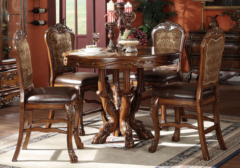 5 pc dresden traditional cherry oak counter height dining for 5 foot dining room table