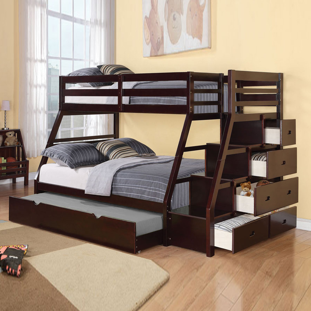 Bed Over Stair Box With Storage And Stairs: Jason Twin Over Full Bunk Bed Storage Ladder Trundle