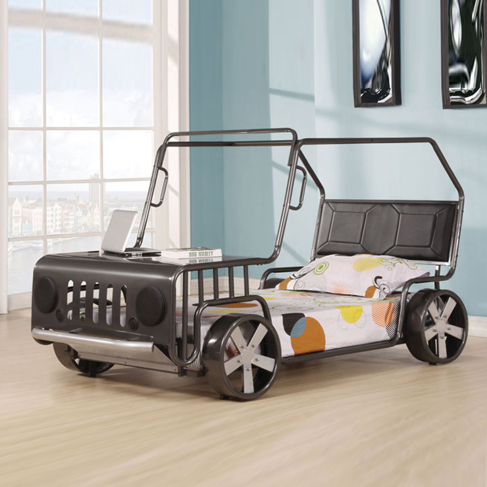 Jerome youth kids fun bedroom twin bed hummer truck car for Childrens bed frames