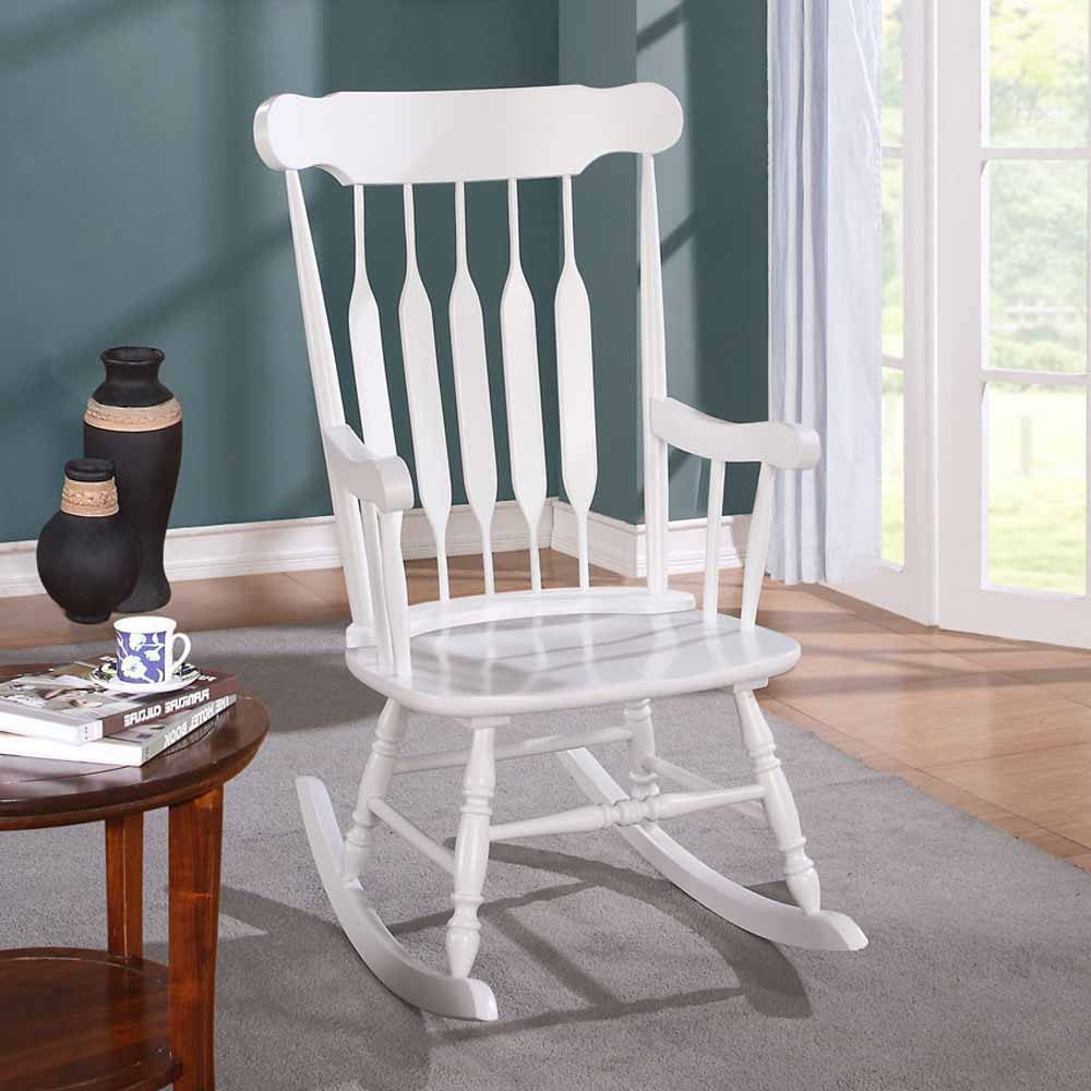 Kloris Collection Transitional Living Room Rocking Chair Wood In White Finish