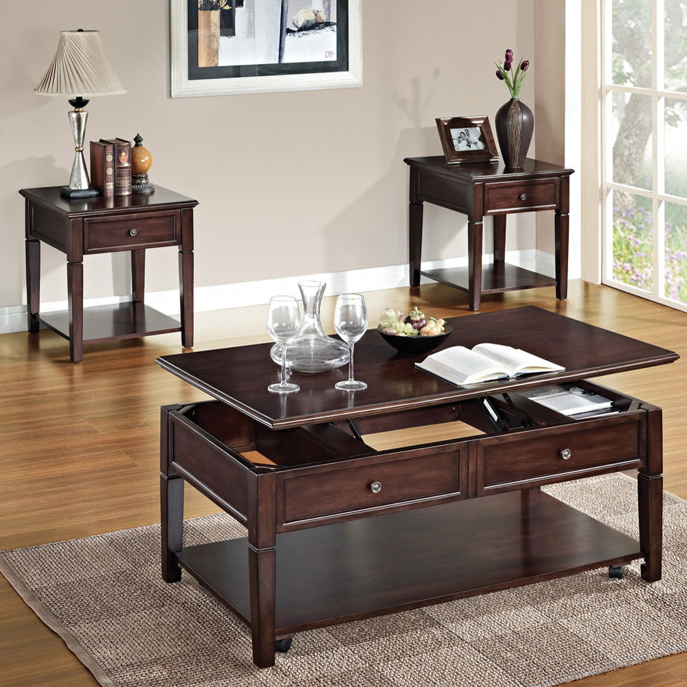 3 Pc Functional Occasional Lift Top Coffee Table End Table W Drawer Set Walnut Ebay