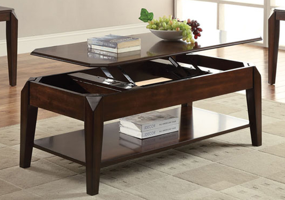 Docila Modern Occasional Coffee Table Beveled Lift Top Storage Shelf In Walnut Ebay