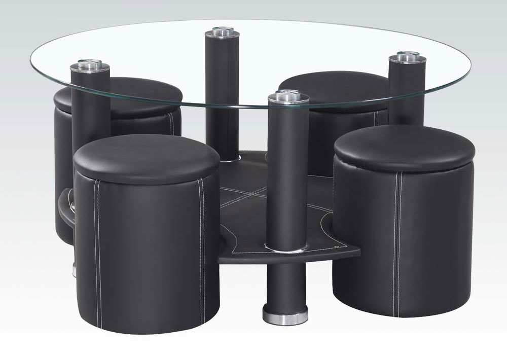 modern style round coffee table glass top w 4 ottomans in black pu leather new ebay. Black Bedroom Furniture Sets. Home Design Ideas