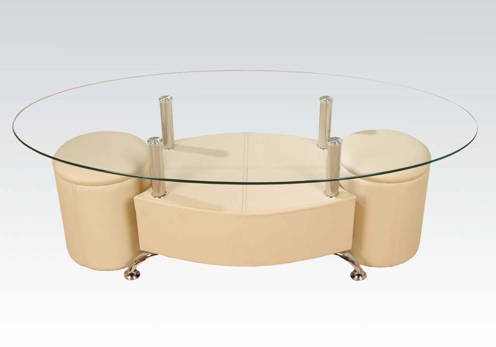 Modern style coffee table glass top metal legs with 2 for Cream glass coffee table