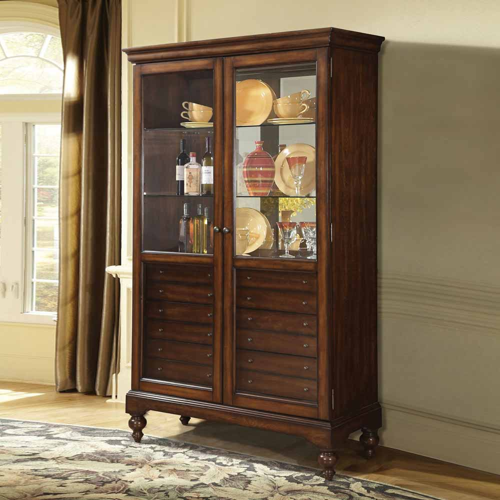 Dining Room Hutch Cabinet: Traditional Curio Dining Cabinet Buffet Hutch 6 Storage