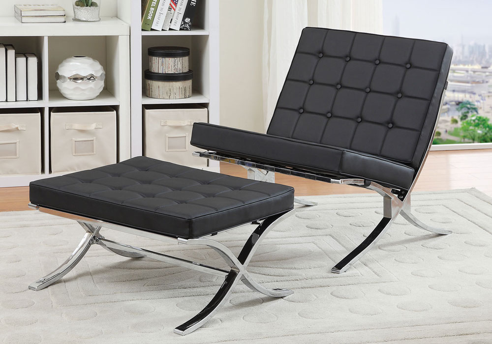 Elian Accent Chair Optional Ottoman X Chrome Base Black Pu