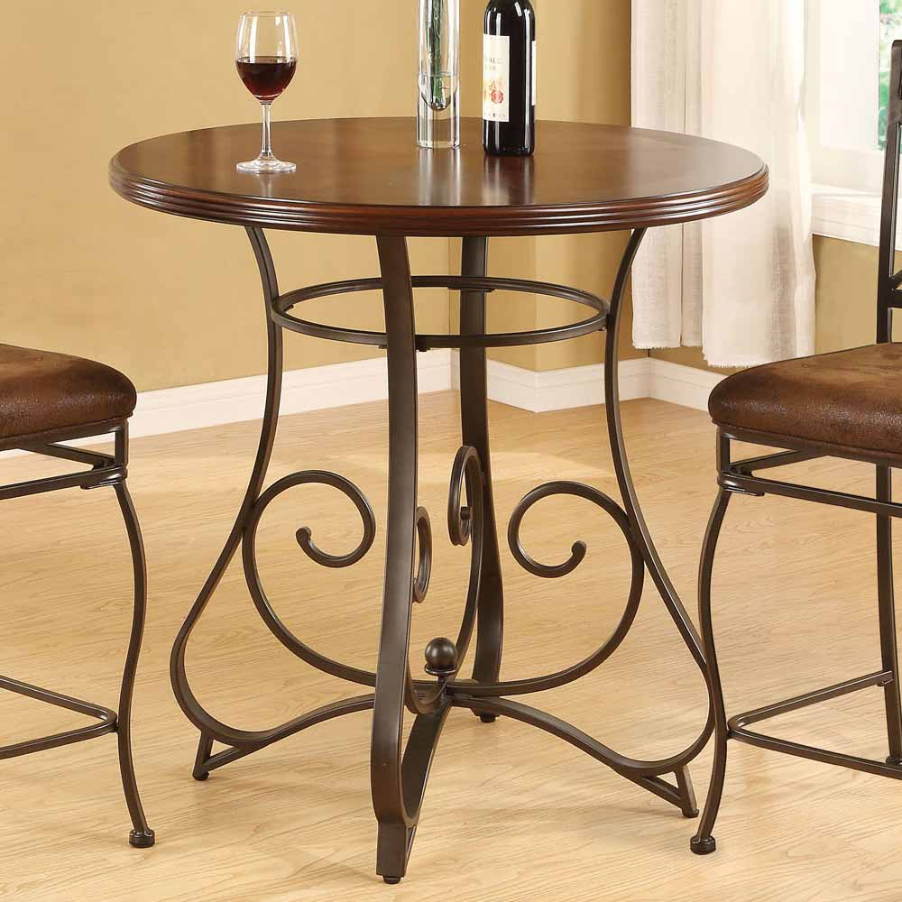 Tavio Home Dining Bar Pub Kitchen Round Table Walnut