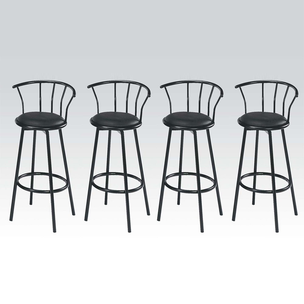 Swivel Counter Stool Bar Stool High Chair Black Kitchen: Set Of 4 Metal Black Swivel Vinyl Seat Pub Bar Stools