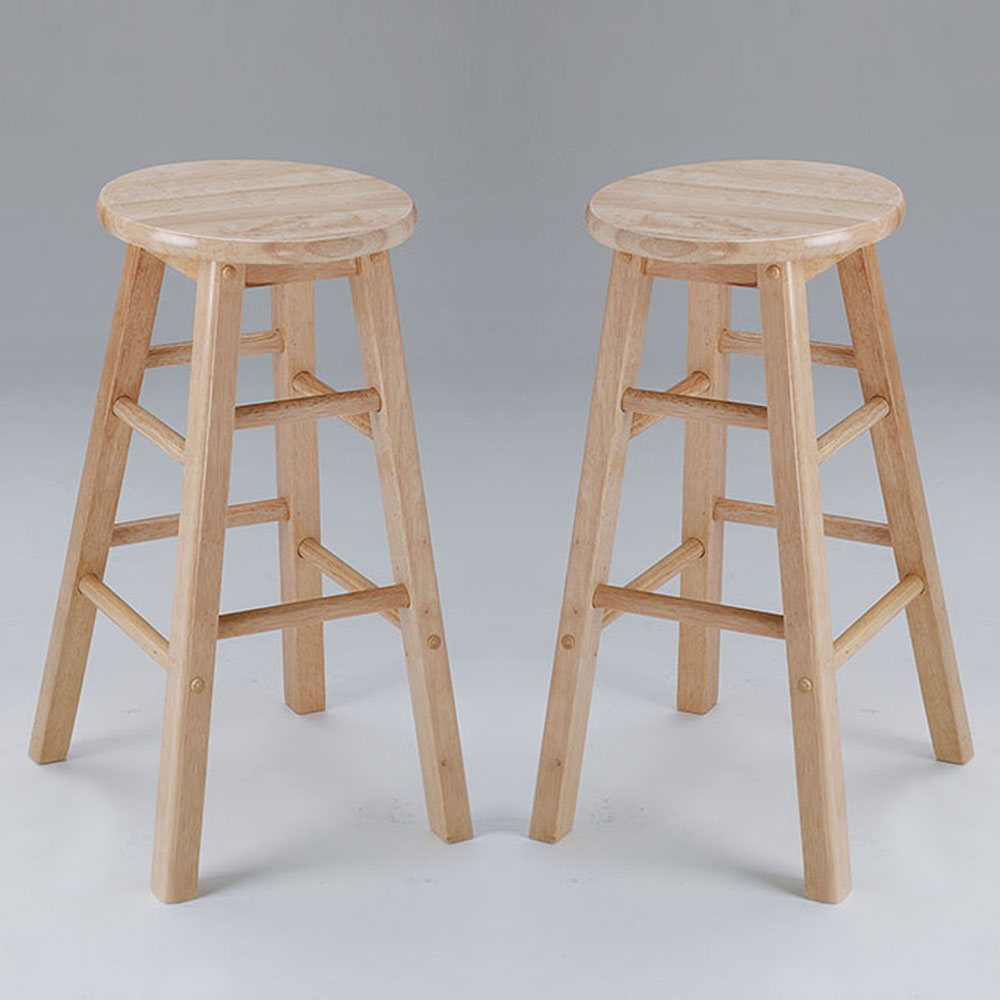 "Metro 29"" Bar Stool Barstool Natural Round Wooden Seat"
