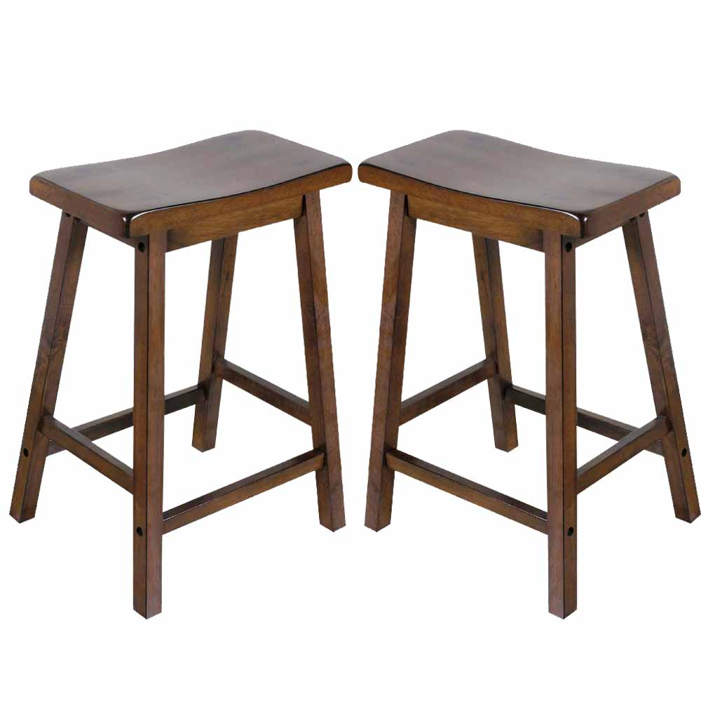 kitchen 24 h counter height bar saddle stools solid wood walnut ebay