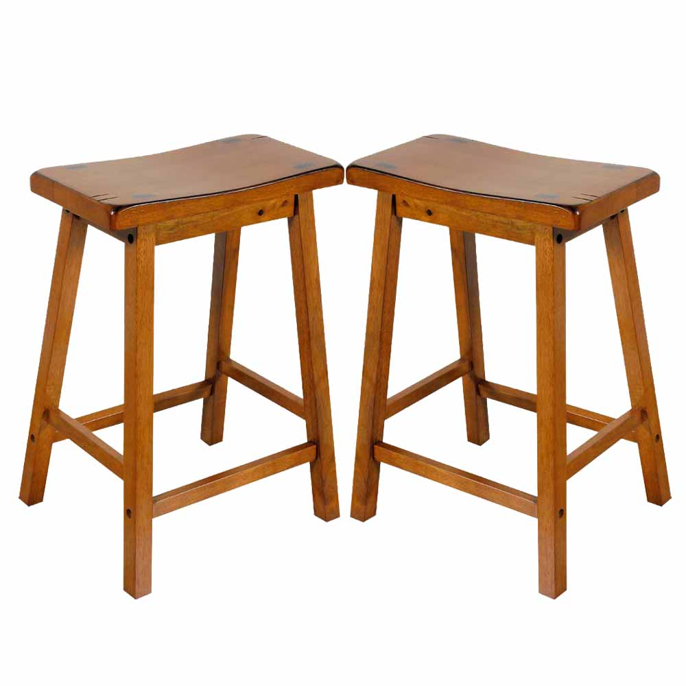 "Bar Stools 24 Counter Height: Gaucho Set Of 2 Kitchen 24""H Counter Height Bar Saddle"
