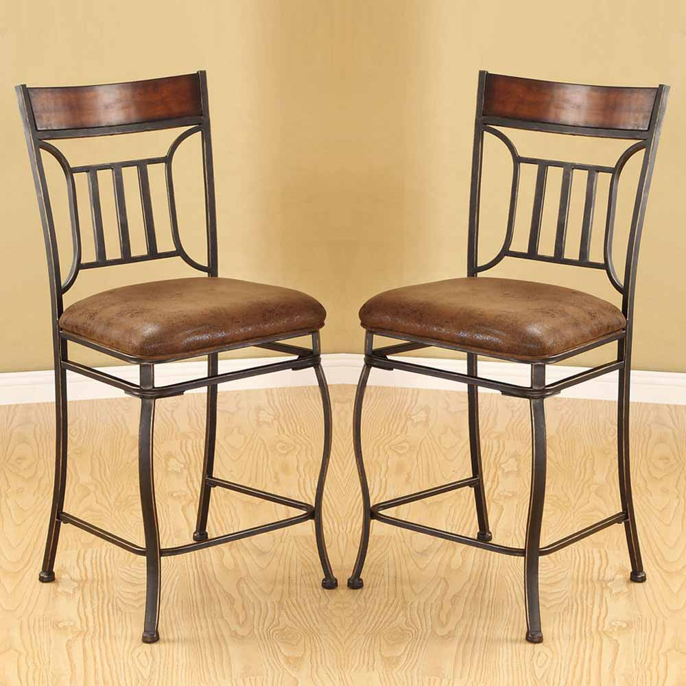 Tavio Set Of 2 Metal 24 H Counter Height Dining Chairs
