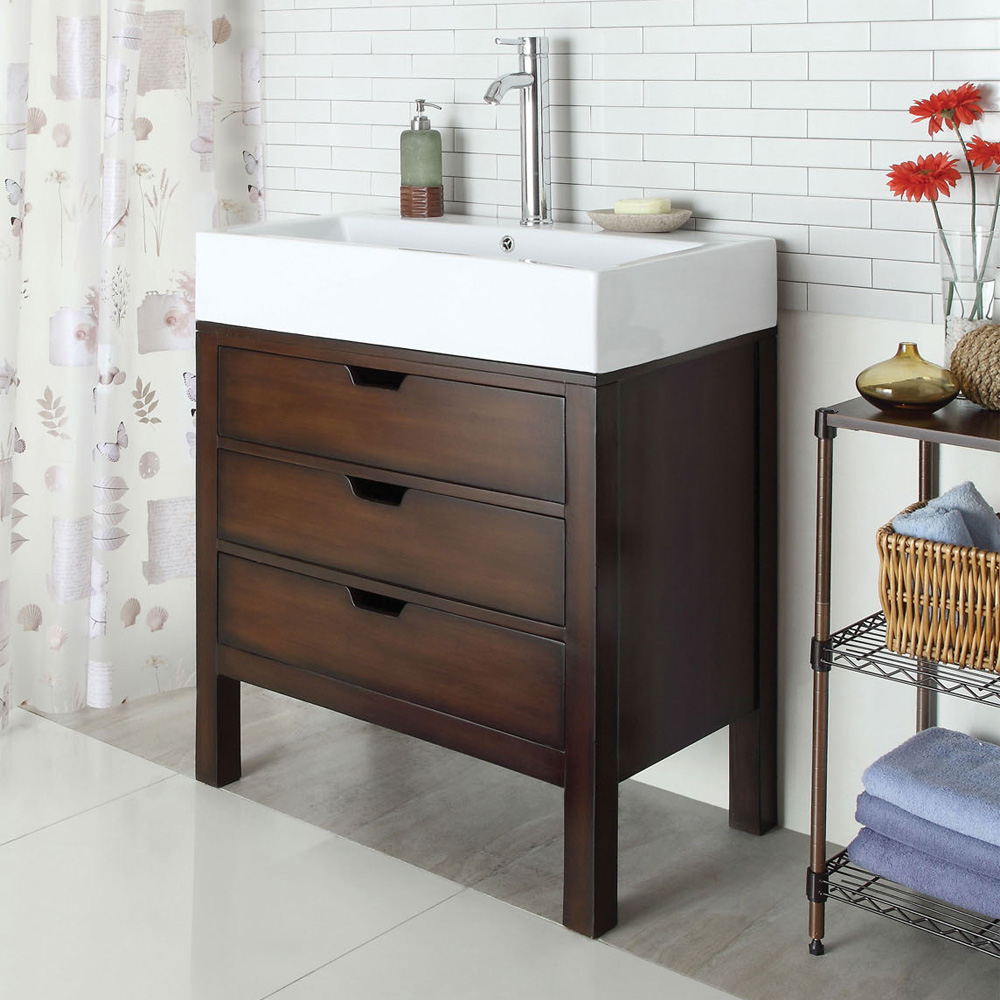 Contemporary Tillie Bathroom Sink Cabinet Vanity Farmhouse Storage Drawer Cherry Ebay