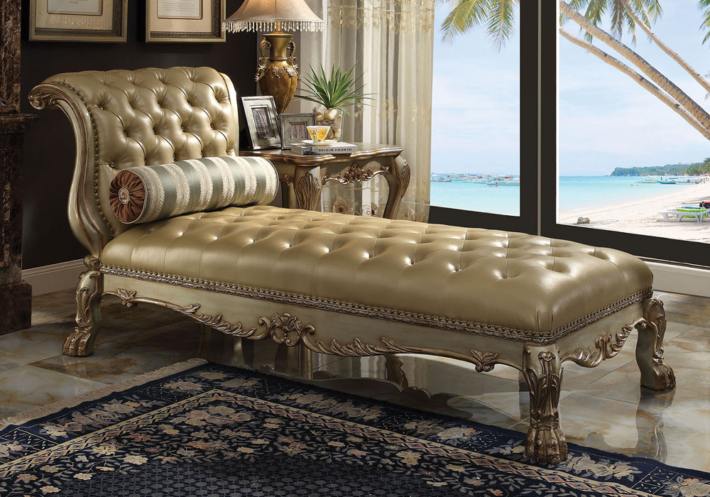 Dresden Elegant Claw Foot Chaise Lounge Sofa Chair Gold