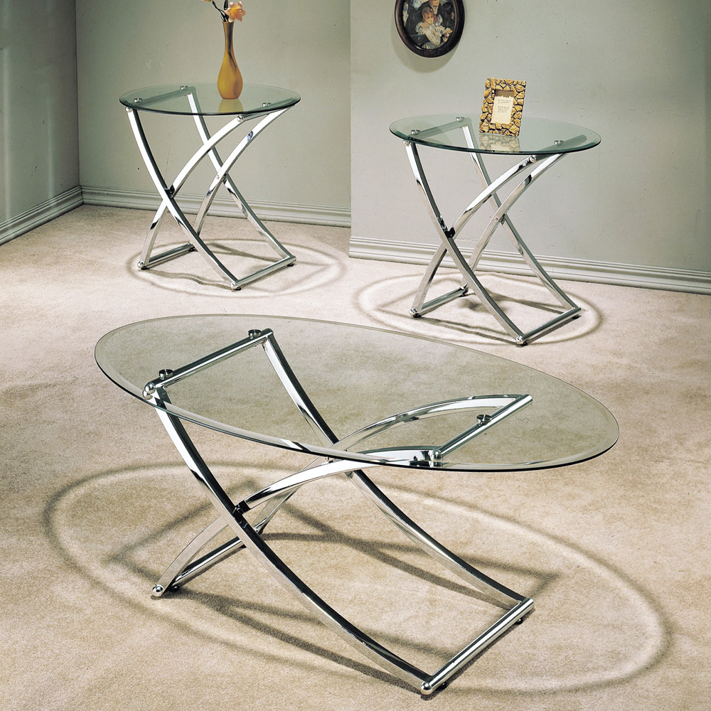 Paradise 3 PC Modern Living Room Coffee Side End Table Set Glass Chrome X Leg
