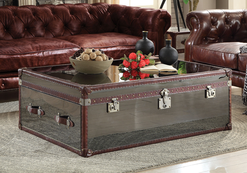 Aberdeen Trunk Cocktail Coffee Table Brown Top Grain