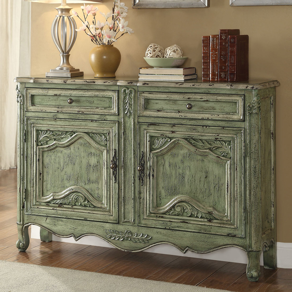 Antique green 2 drawers 2 doors console sofa table hallway for Sofa table with drawers and doors