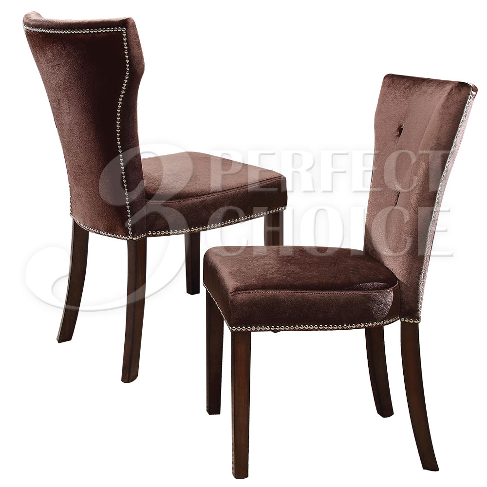 Side Chairs For Dining Room: Kingston Brown Suede Tufted Back Dining Side Chairs W