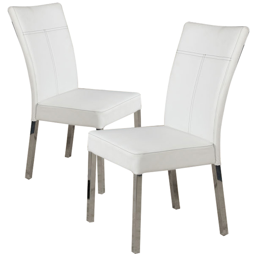 White Leather Dining Room Set: Set Of 4 Dining Side Chair White PU Leather High Back W