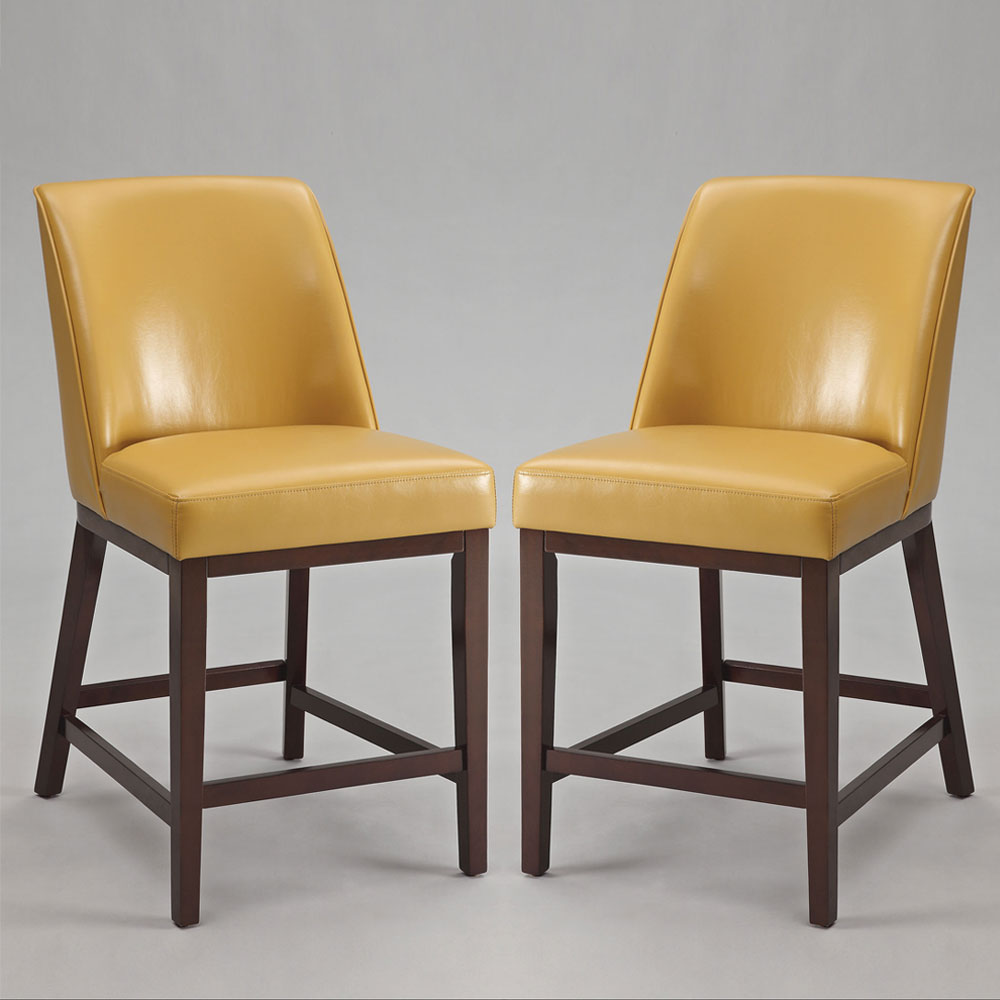 Counter Height Chairs With Backs : Valor Set of 2 Counter Height Bar Stools Chairs Yellow PU Back Seat ...