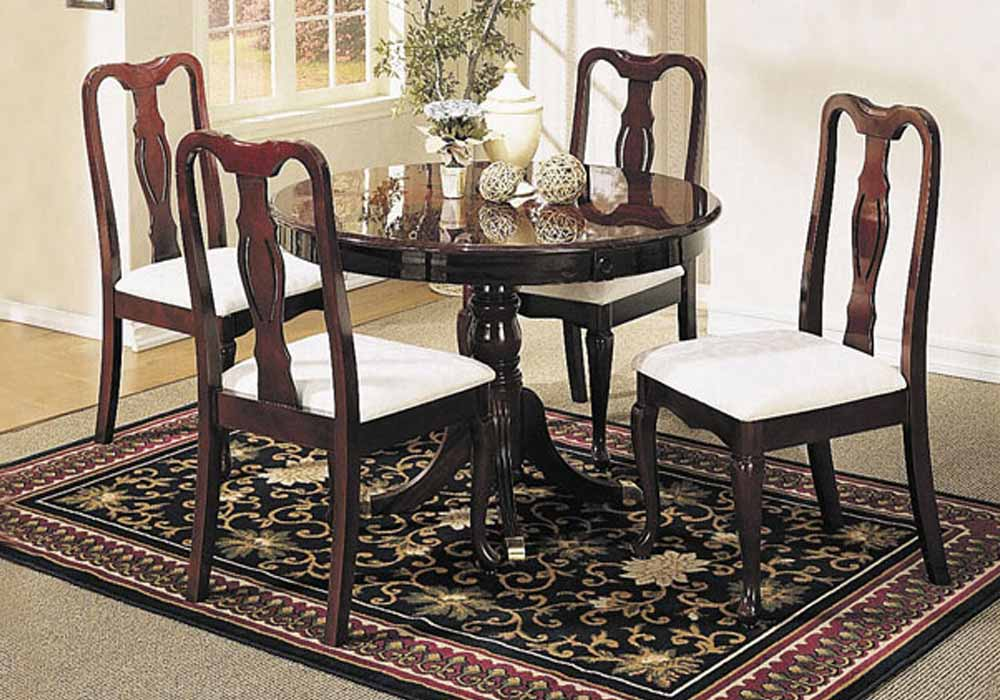 Queen Anne 5 Pcs Round Dining Pedestal Table Set Chair W