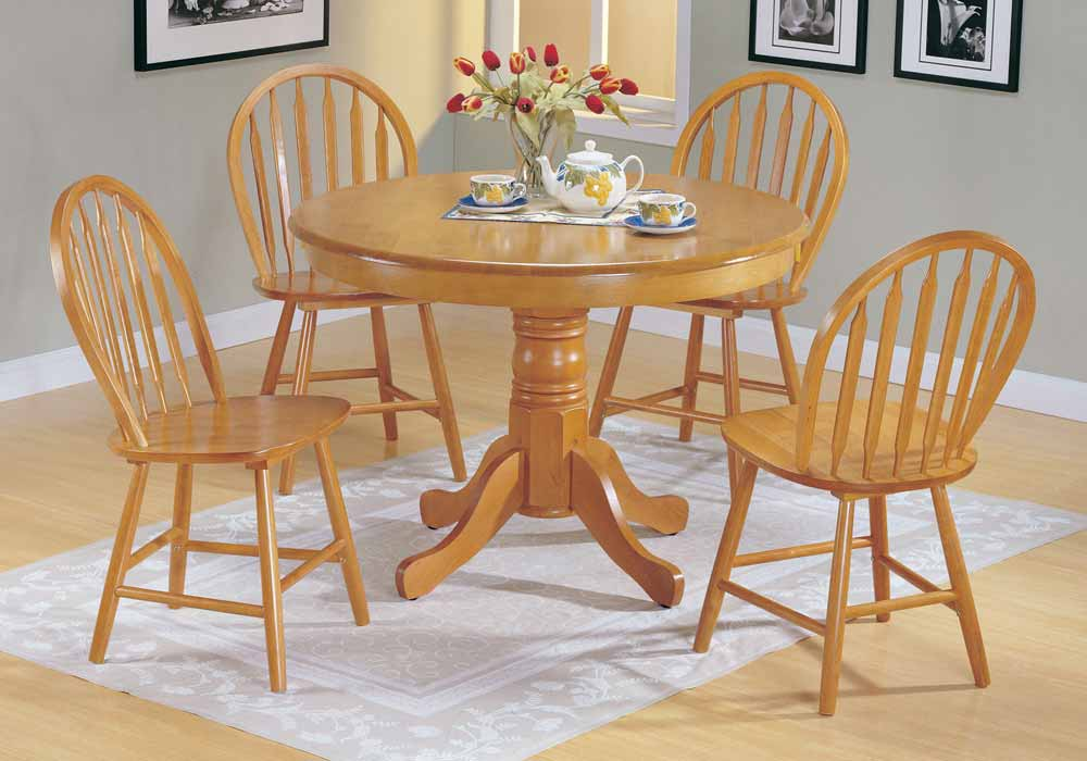 Farmhouse 5 pc Country Solid Wood Round Dining Pedestal Table Set Side Chair Oak