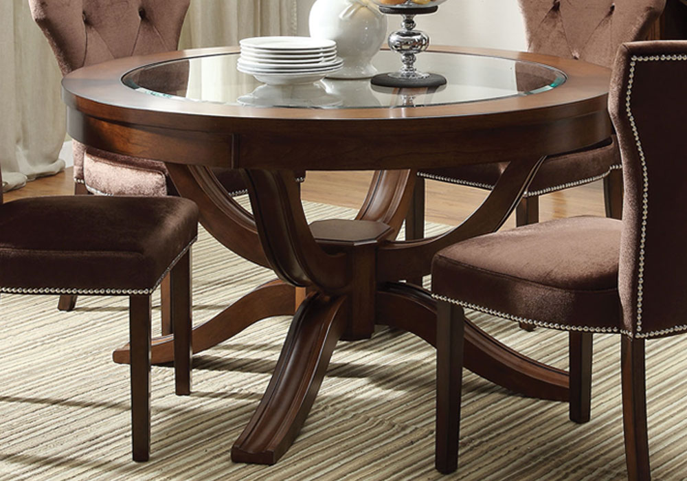Kingston round pedestal dining table central glass top for Solid wood round dining room table