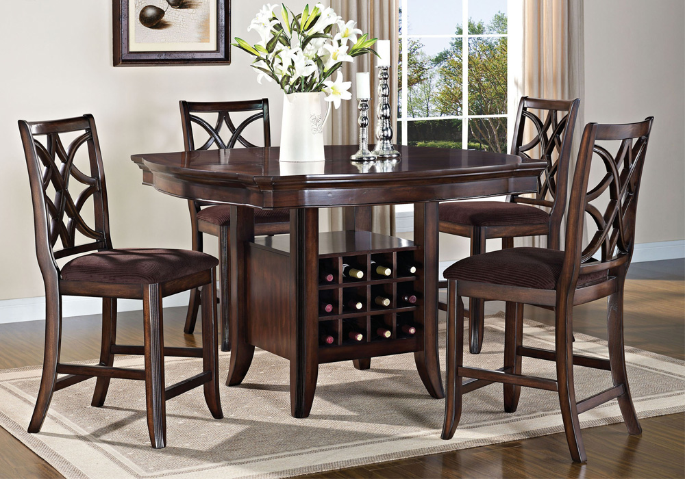 Keenan 5PC Counter Height Dining Table Set Wine Storage