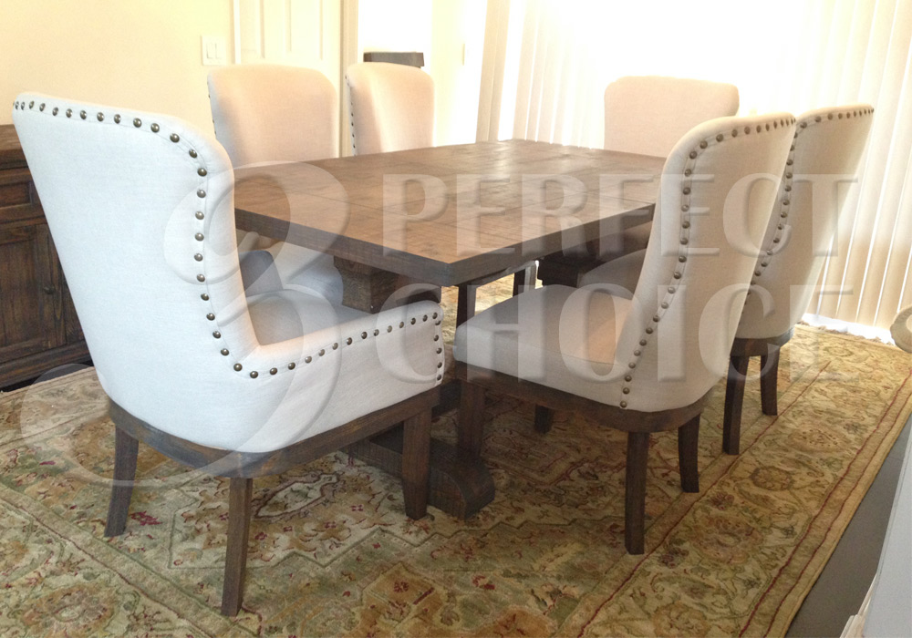 Landon 9 Pc Formal Dining Set Pedestal Table Distressed Rustic Wood Fabric Ch