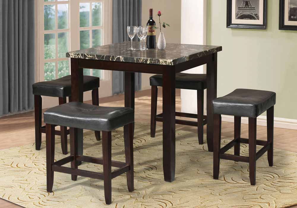 5 PC Counter Height Dining Square Black Faux Marble Top PU
