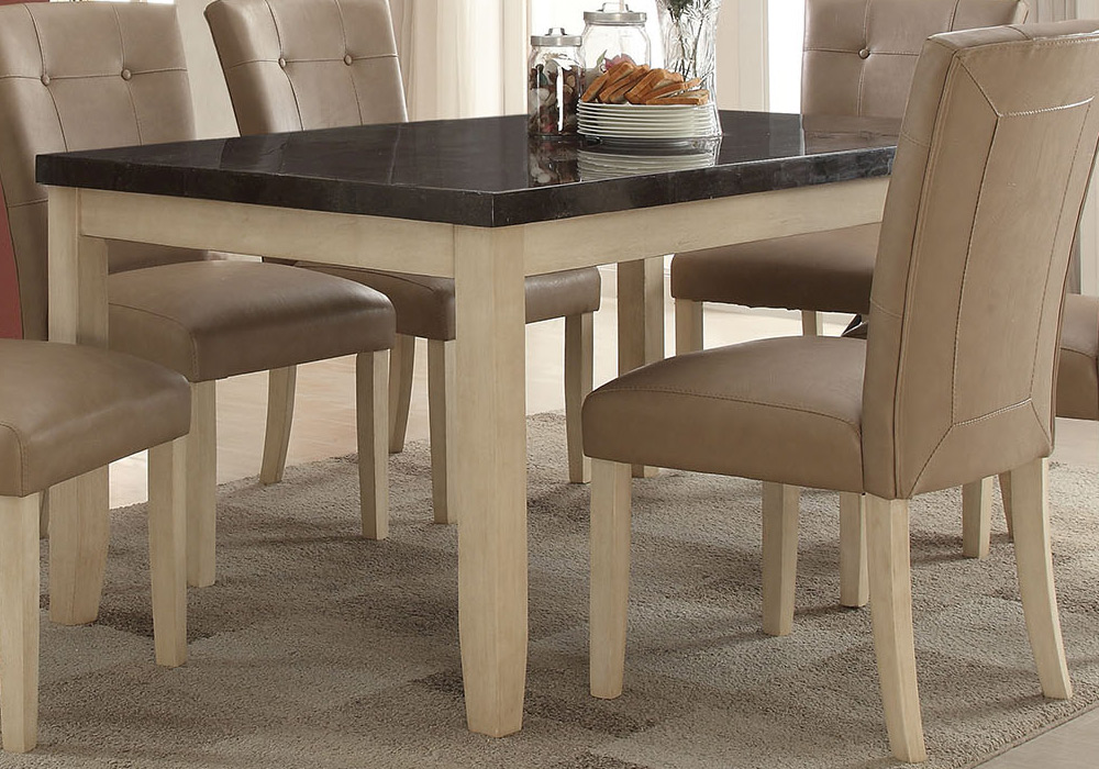 Faymoor casual dining table w limestone marble top for White casual dining table