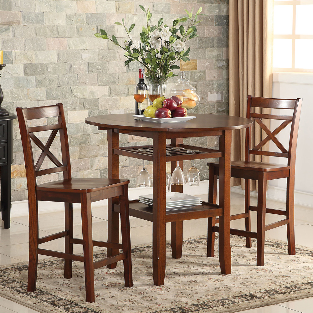 Tartys 3pcs Counter Ht Dining Set Drop Side Leaves Table Wine Rack Chair Che