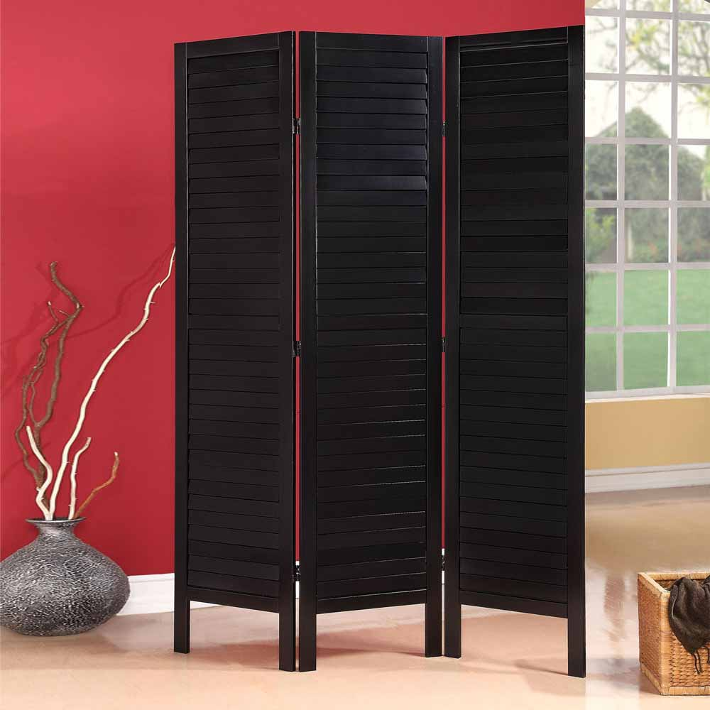 Wood Screens Room Dividers ~ Trudy black wood shutter design room divider folding