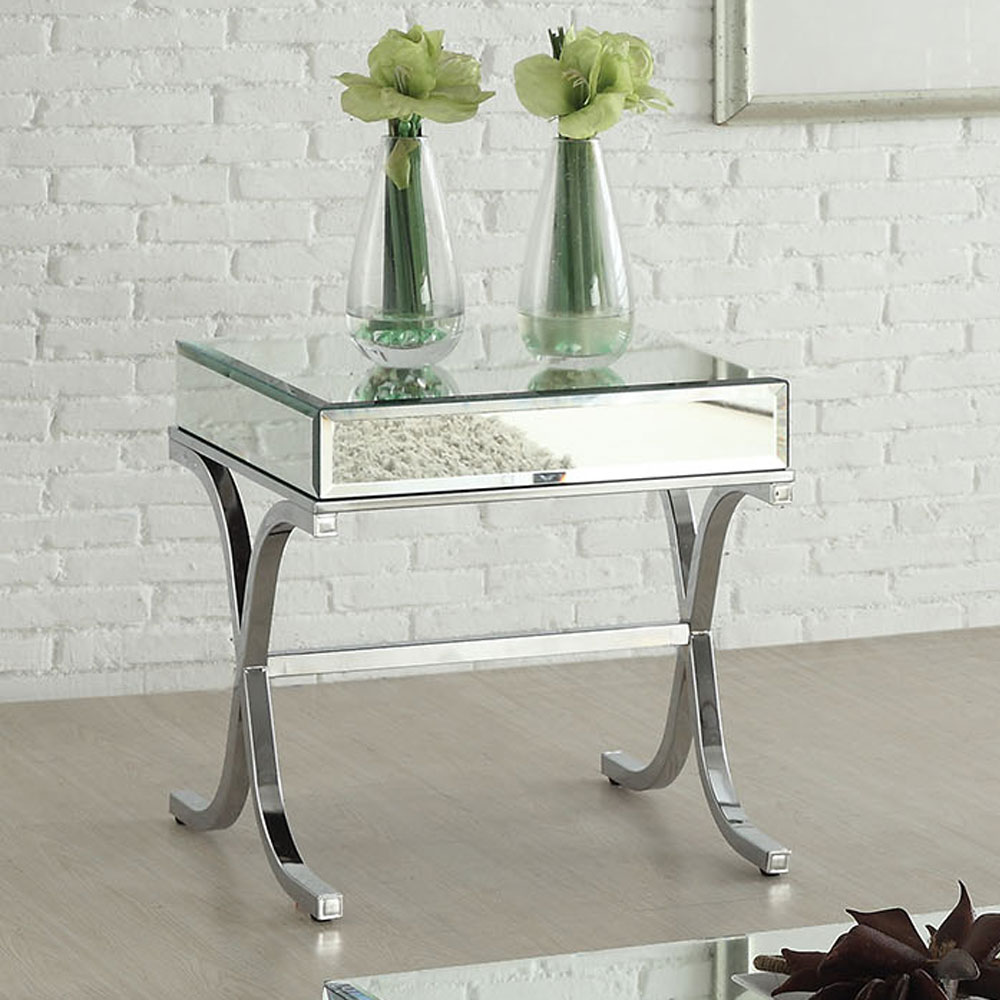 Yuri Modern Living Room End Side Table Stand Mirrored Top Chrome Metal X Base Ebay