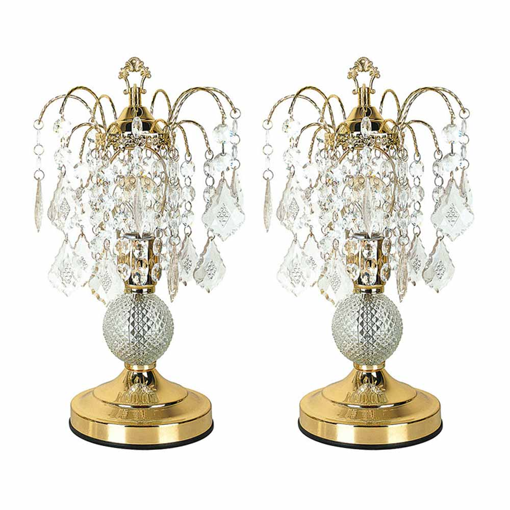Elaine luxurious set of 2 table lamps crystal like base - Black table lamps for living room ...