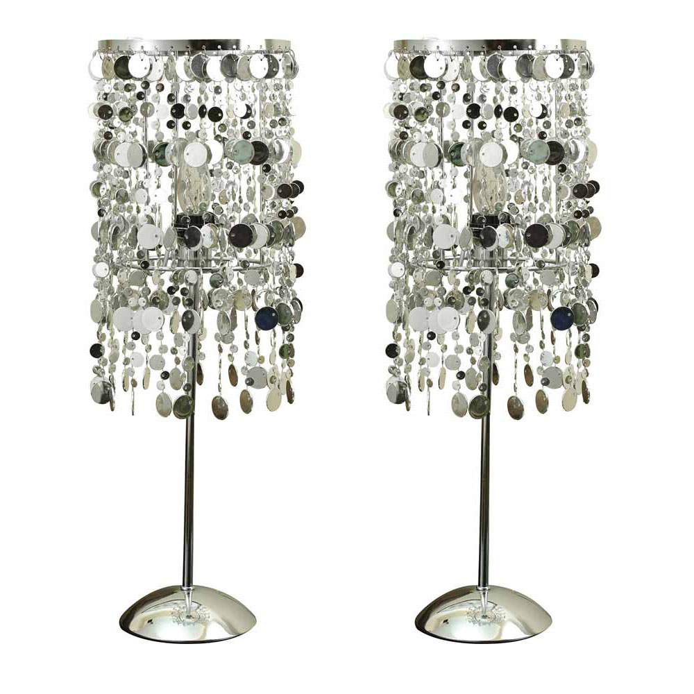 Vicka Contemporary Style Living Room Set Of 2 Table Lamps Chrome Finish 20 Qu