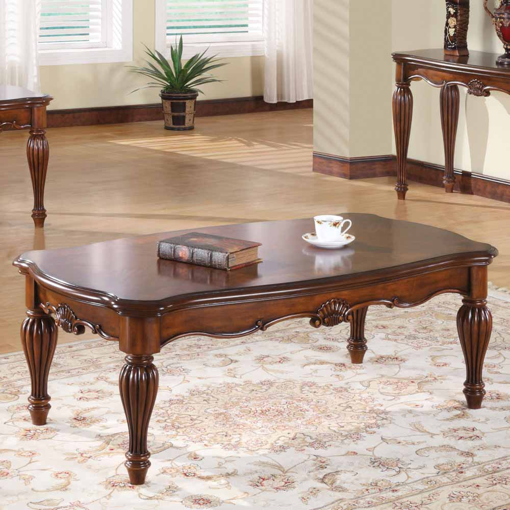 Dreena Occasional Living Room Coffee Table Carved Solid Wood In Cherry Finish