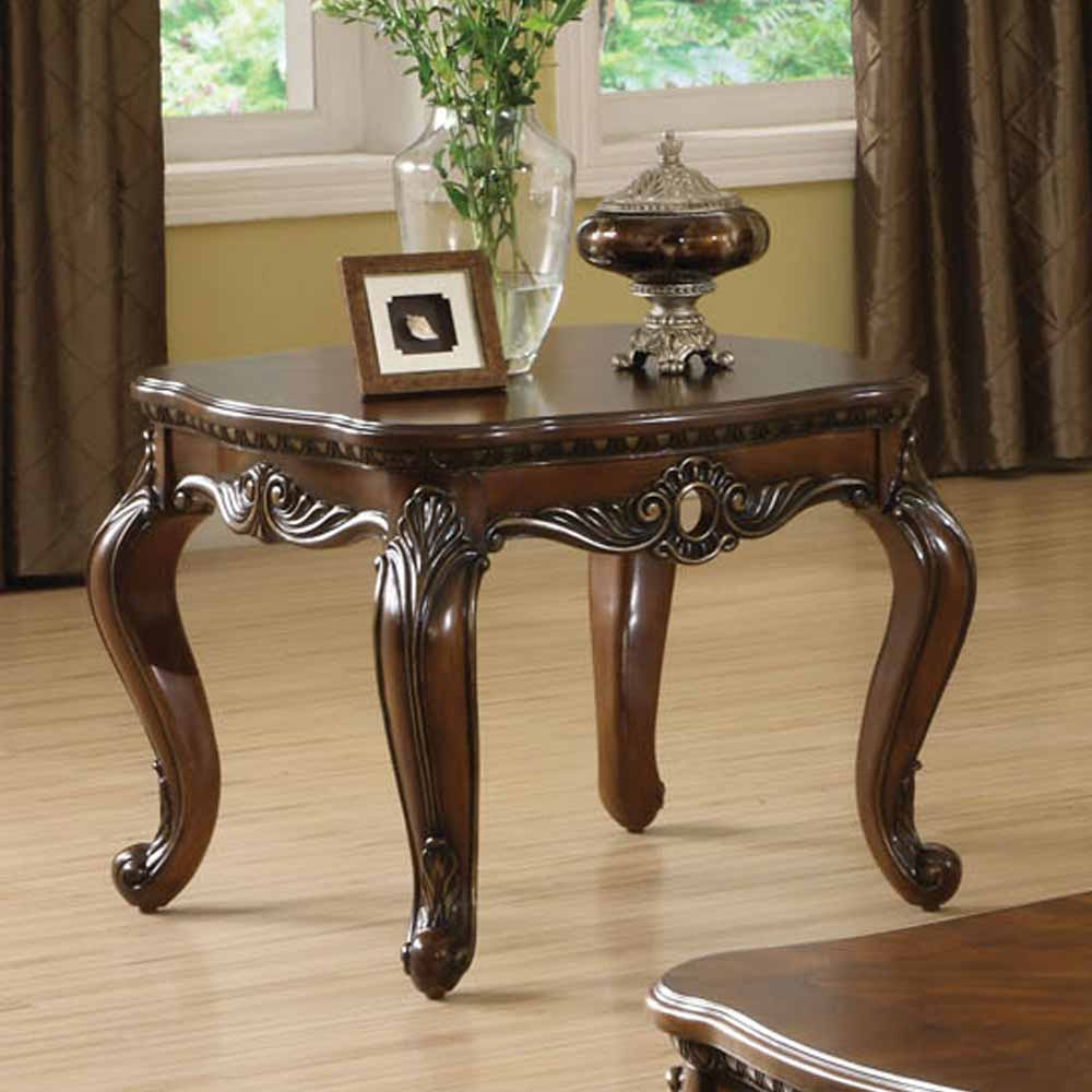 Living Room Wood Tables: Remington Occasional Living Room End Table Carved Solid
