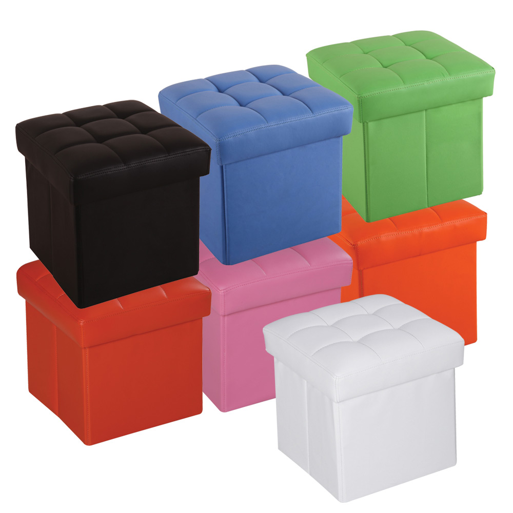 Leather Ottoman Storage Cube Square Leather Storage