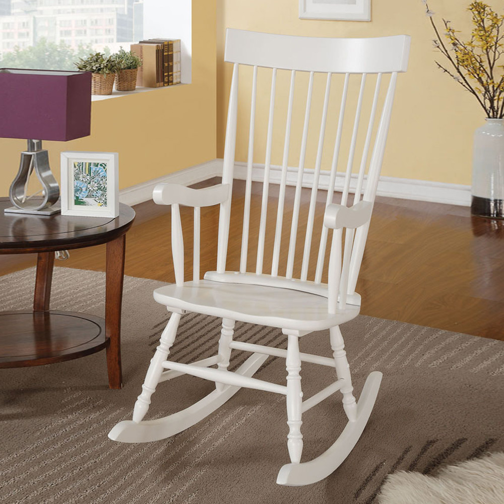 Arlo Collection Transitional Living Room Accent Rocking Chair Wood In White