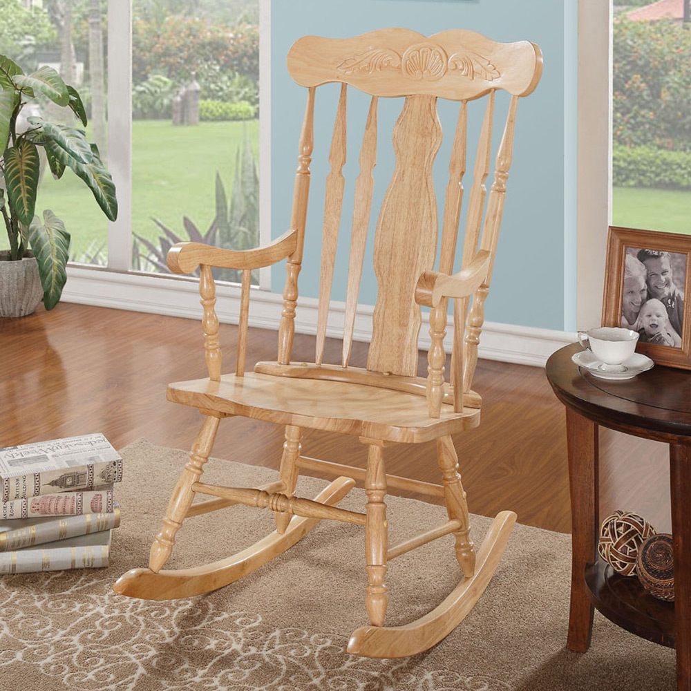 Joel Collection Transitional Living Room Rocking Chair Wood Natural Carving B