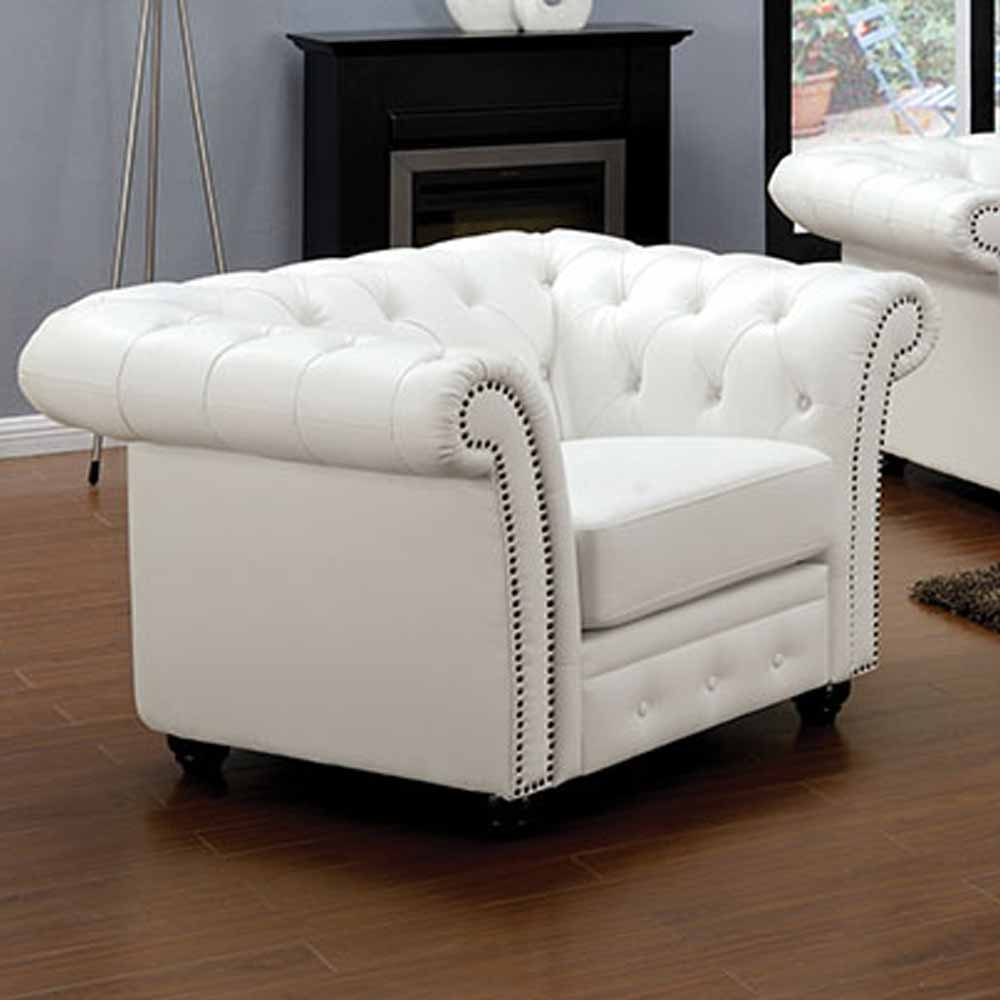 Paris Transitional Tufted White Leather Sectional Sofa: Camden Elegant Sofa Loveseat Chair Set White Bonded