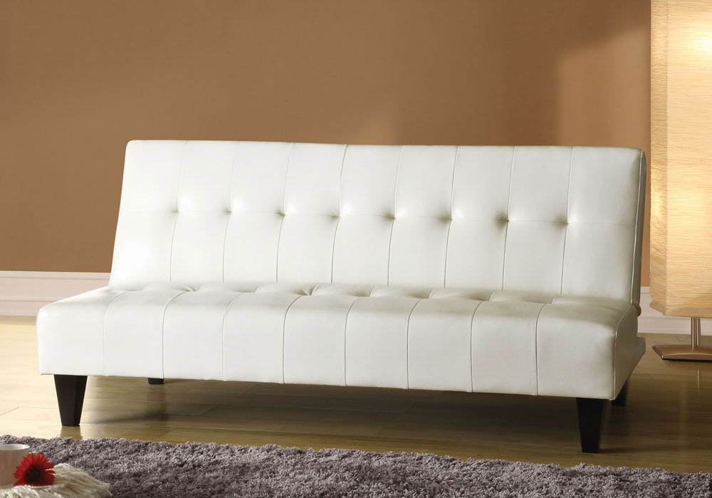 Conrad Simple Adjustable Sofa Bed Futon Sleeper Couch White Bycast Pu Leather Ebay