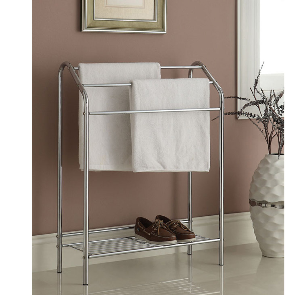 Silver Metal Chrome Accent Blanket Quilt Towel Rack Stand Shoes Bottom Shelf New Ebay