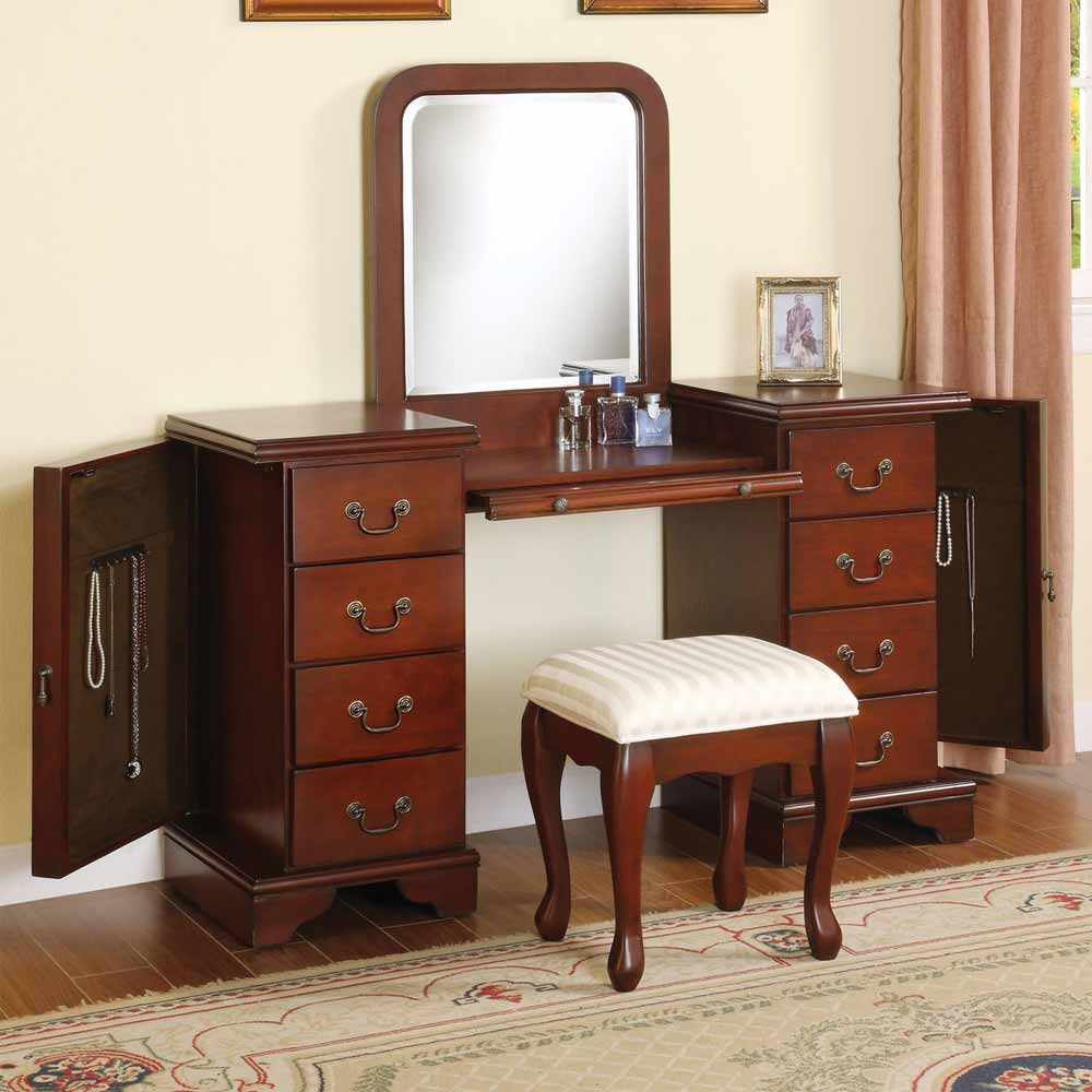 3 Pc Louis Phillipe Vanity Makeup Set W Jewelry Storage Armoire Bench In Brown Ebay