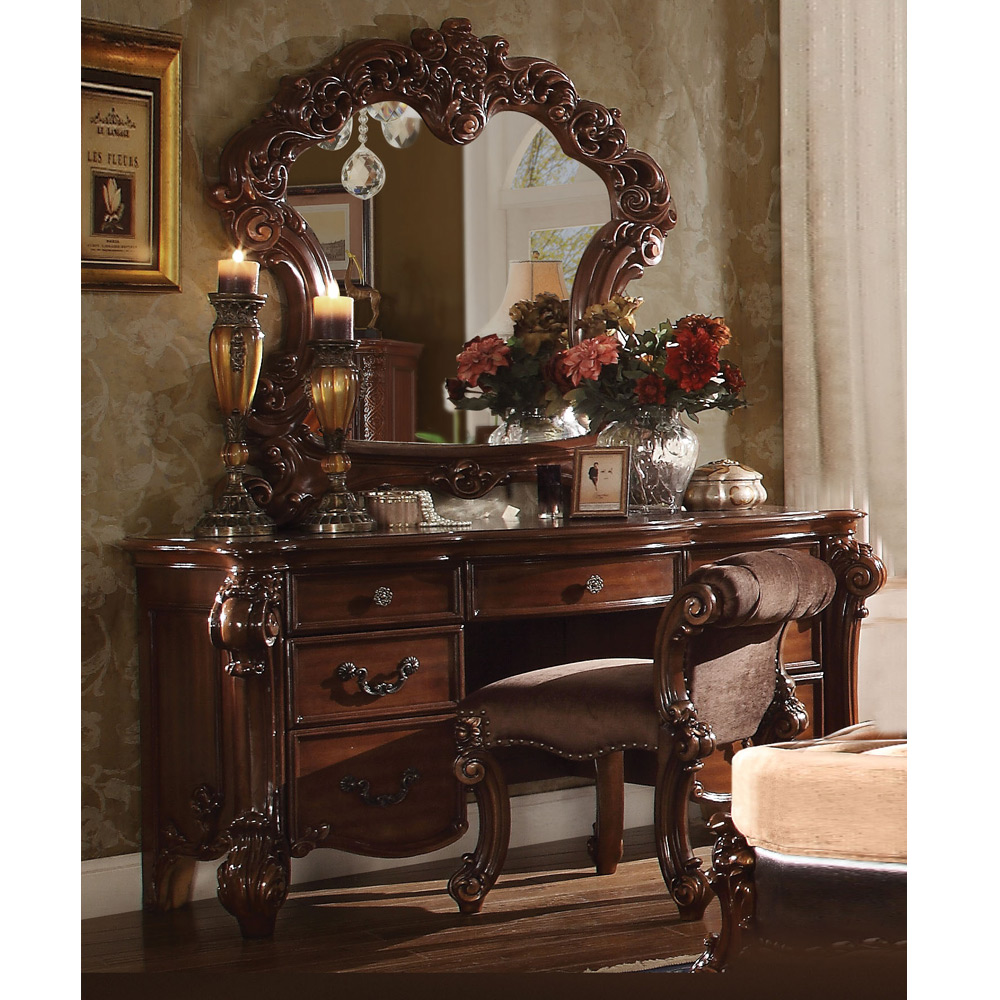 vendome bedroom luxury vanity table makeup desk mirror stool scroll wood cherry ebay. Black Bedroom Furniture Sets. Home Design Ideas
