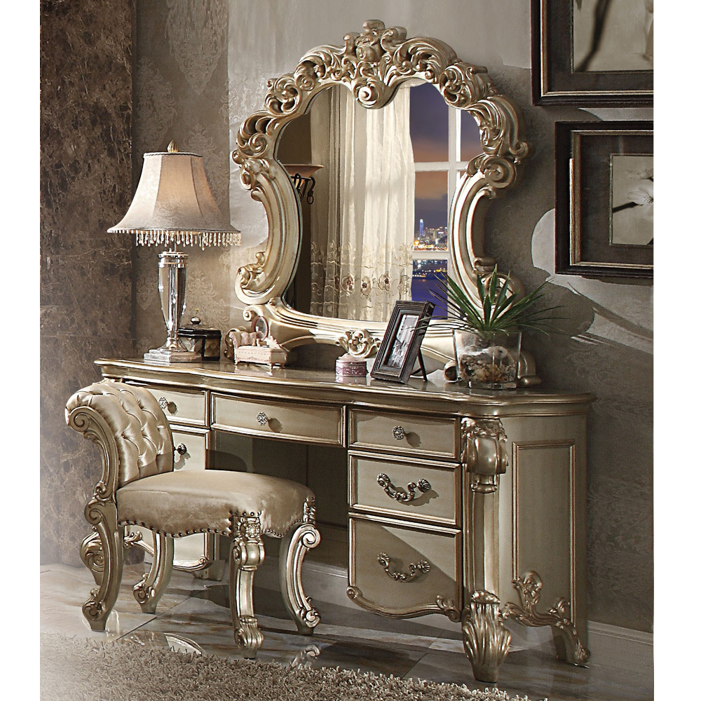 Vendome bedroom luxury vanity table makeup desk mirror scrolled gold patina wood for Bedroom vanity table without mirror